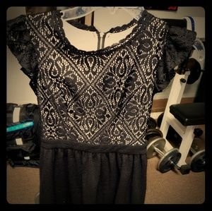 Black and nude lace xhilaration dress